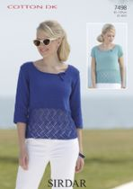 Sirdar Cotton DK Knitting Pattern - 7498 Tops